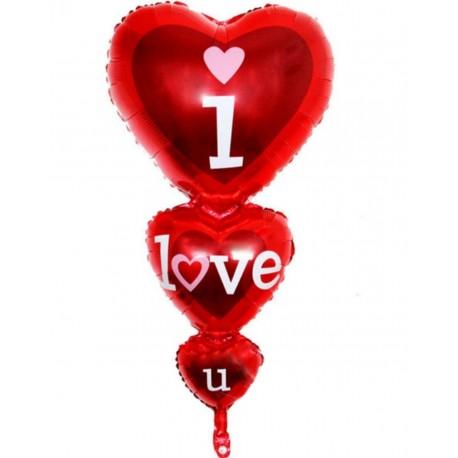 بادکنک فویلی قلب 3تکه i love you