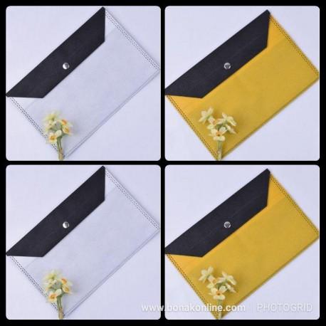 پوشه دکمه دار پارچه ای دو رنگ سایز A5
