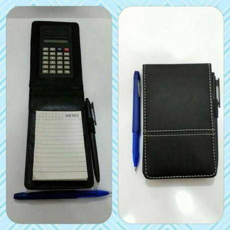 دفترچه یاداشت چرم خودکار دار و ماشین حساب دار