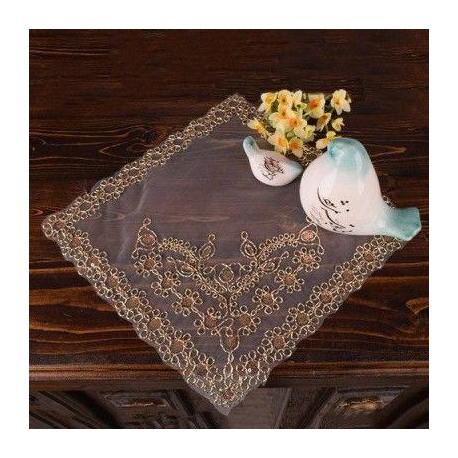 رومیزی عسلی تور طلایی