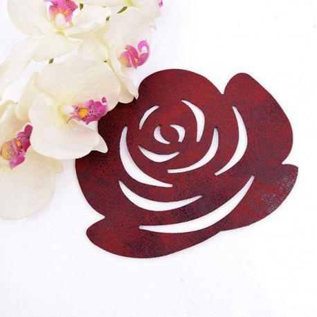 زیر بشقابی رومیزی چرم طرح گل رز