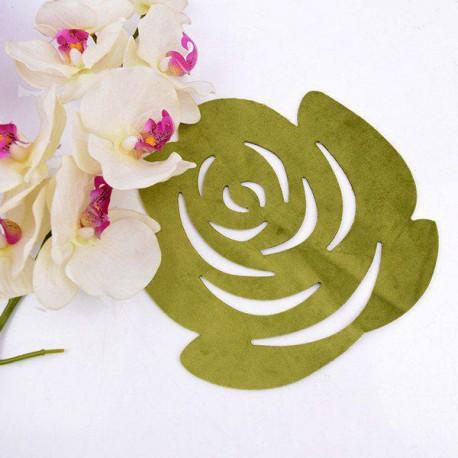زیر بشقابی رومیزی مخمل طرح گل رز