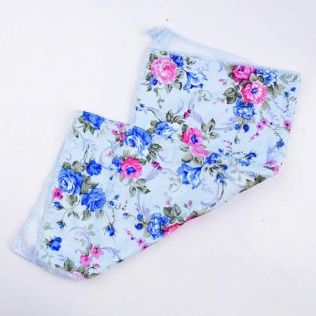 دستمال حوله ای گلدار آبی 40 در 40