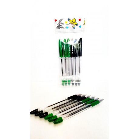 خودکار مشکی و سبز بسته 6تایی