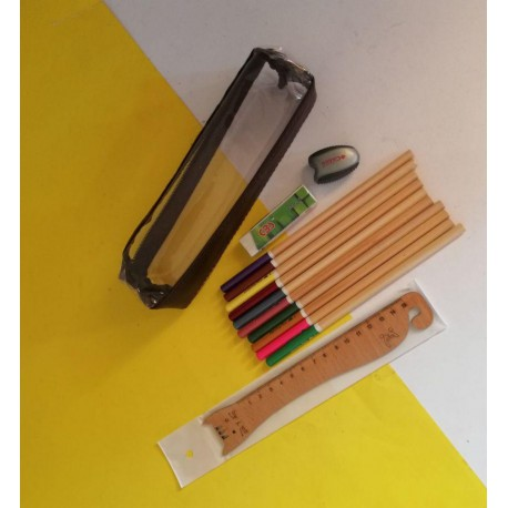 ست مداد رنگی طرح چوب 10 رنگ جامدادی دار