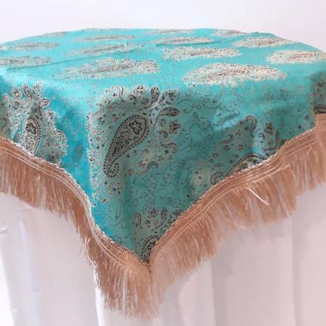 رومیزی سنتی طرح ترمه فیروزه ای