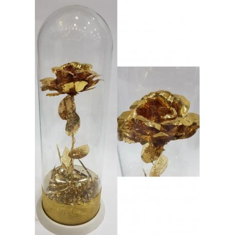 گل طلایی برنجی داخل باکس شیشه ای