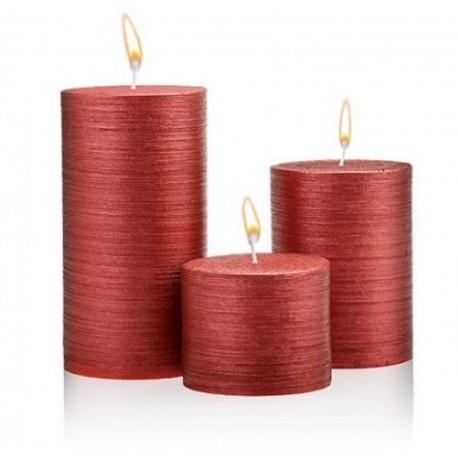 شمع استوانه قرمز اکلیلی 3 تکه بزرگ اعلاء