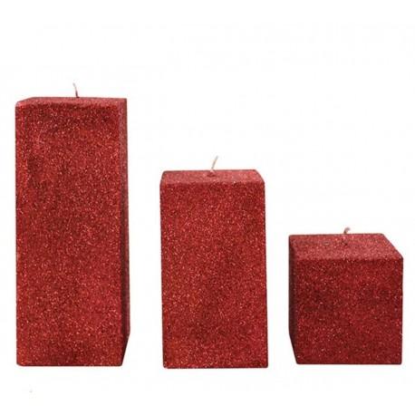 شمع مکعبی قرمز اکلیلی 3 تکه بزرگ اعلاء