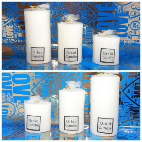 شمع استوانه سفید 3 تکه بزرگ اعلاء