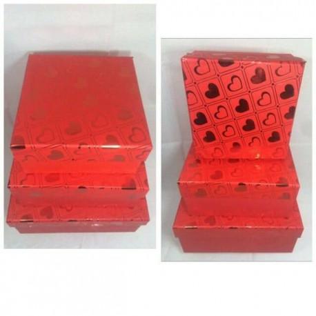 جعبه کادو مربع 3 سایز قرمز طلاکوب هارد باکس