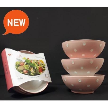 کاسه سوپ خالدار صورتی 3 تایی