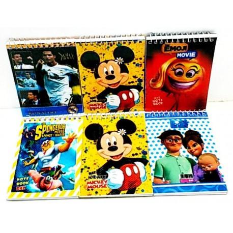 دفترچه یادداشت سیمی 1/16 طلقی کارتونی جلد سخت